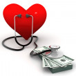 Heart with stethoscope and money — Stock Photo