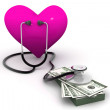 Foto Stock: Heart with stethoscope and money