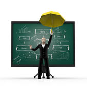 3d man with business strategy board — Stockfoto