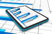 Business graph with growth chart in tablet — Stock Photo