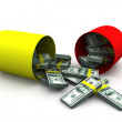 Stock Photo: Open capsule with money