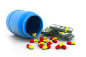 Bottle of pills and money — Stock Photo