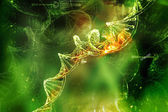 Digital illustration of DNA in abstract background — Stock Photo