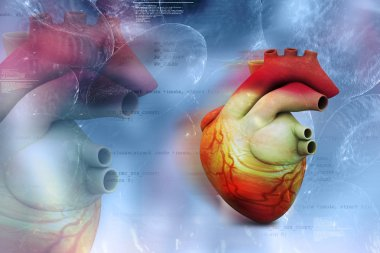 Digital illustration of Human heart in abstract medical background