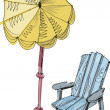 Deckchair and parasol — Stock Vector