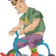 Stock Vector: Metrosexual person riding bicycle - cartoon