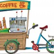 Mobile bicycle based cafe - cartoon — Imagen vectorial