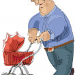 Stock Vector: Father with pram - cartoon