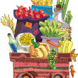 Cart with vegetables and fruits - cartoon — Stock Vector