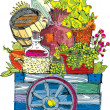 Stock Vector: Cart with vegetables and fruits - cartoon