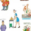 Hotel associated set - cartoon — Stock Vector
