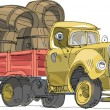 Vintage lorry loaded with barrel - cartoon — Stock Vector