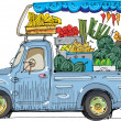 Vehicle full of fruits and vegetables - cartoon — Stock Vector
