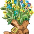 Boot with flowers inside - cartoon — Stock Vector