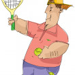 Tennis player - cartoon — Stock Vector