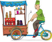 Mobile bicycle based cafe - cartoon — Stock Vector