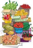 Cart with fruits - cartoon — Stock Vector