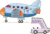 Vintage passenger plane and ramp - cartoon — Stock Vector