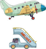 Vintage passenger plane and ramp - cartoon — Stock Vector