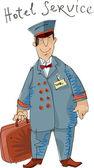 Hotel service - porter - cartoon — Stock Vector