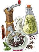 Still life with spices - cartoon — Stock Vector