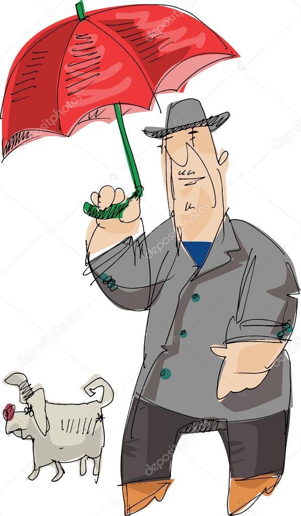 Uomo di cartone animato con ombrello rosso e piccolo cane