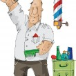 Stock Vector: Barber - cartoon