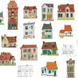 Set of vintage facades - london - cartoon — Stock Vector