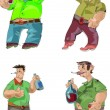 Drunk men - cartoon — Stock Vector