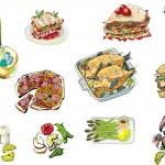 Food and alcohol - cartoon — Stock Vector