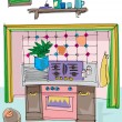 Vintage kitchen - cartoon — Imagen vectorial