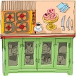 Kitchen - cartoon — Stock Vector