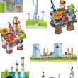 Set of industrial projects related to energy - cartoon — Stock Vector