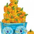 Stock Vector: Cart with pumpkins - cartoon