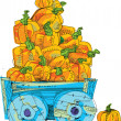Cart with pumpkins - cartoon — Stock Vector