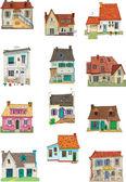 Vintage facades - cartoon — Stock Vector