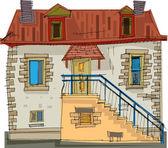 Typický dům v bretani, francie — Stock vektor