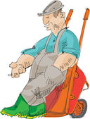 Tired farmer - cartoon — Stock Vector