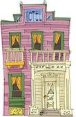 Western vintage hotel - cartoon — Stock Vector
