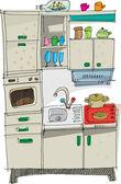 Küche - Cartoon — Stockvektor