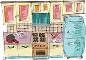 Kitchen - cartoon — Stock Vector