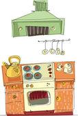 Vintage kitchen - cartoon — Stock Vector
