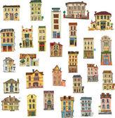 Set of vintage facades - London - cartoon — Stock Vector