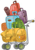 Pile of luggage - cartoon — Stock Vector