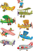 Set of vintage plane — Stock Vector