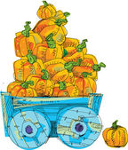 Cart with pumpkins - cartoon — ストックベクタ