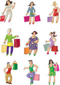 Set of shopping girl — Stock Vector