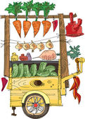 Cart with vegetables - cartoon — Vecteur
