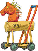 Wooden horse - cartoon — Stock Vector