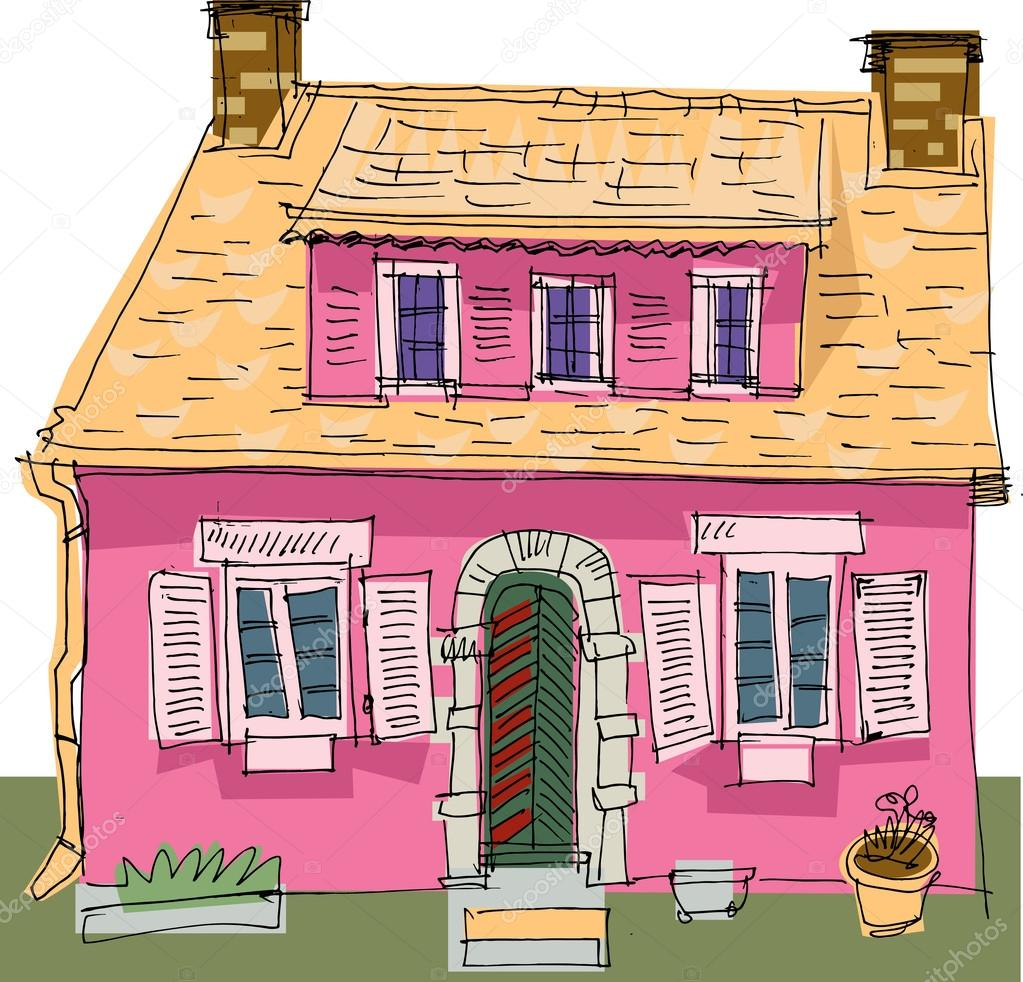 Vintage house cartoon stock vector iralu1 32385829 for Classic house images